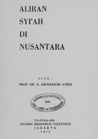 Cover buku Aliran Syiah Nusantara Abubakar Aceh