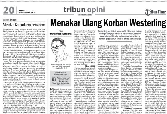 Capture tulisan ini yang dimuat di Tribun Timur 12 Desember 2013