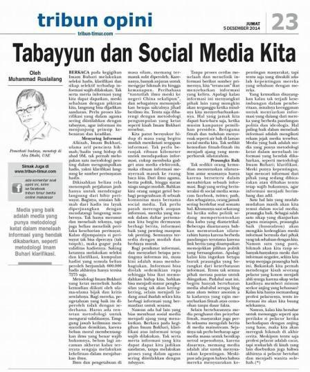 opini tribun Tabayyun 5 Des 2014